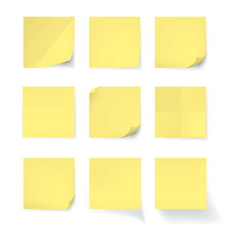 Illustration pour Set of Yellow stick note isolated on white background, vector - image libre de droit