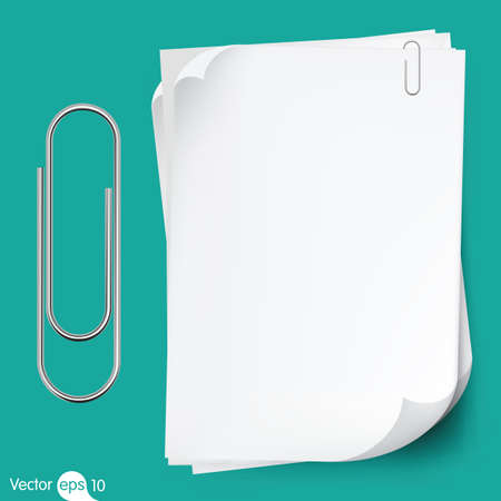 Illustration for Paperclip holding a blank paper sheet - Royalty Free Image