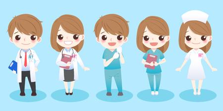 Illustrazione per cute cartoon doctors stand and smile to you - Immagini Royalty Free