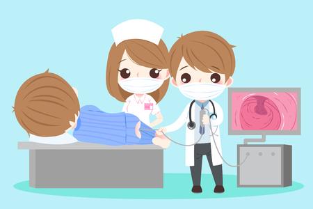 Illustrazione per cute cartoon doctor and patient with intestine health concept - Immagini Royalty Free
