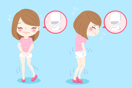 Ilustración de woman with urine urgency problem on blue background - Imagen libre de derechos
