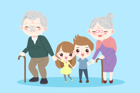 Illustration for happy cartoon family on the blue background - Royalty Free Image