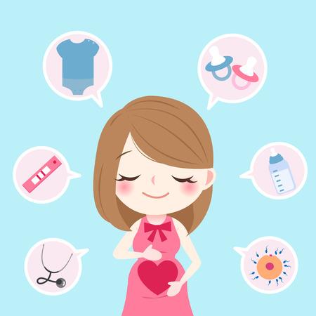Ilustración de beauty cartoon pregnant on the blue background - Imagen libre de derechos