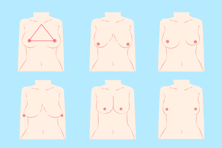 Illustrazione per cartoon different chest shape on the blue background - Immagini Royalty Free