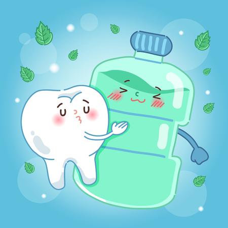 Ilustración de Cute cartoon tooth with mouthwash on blue background - Imagen libre de derechos