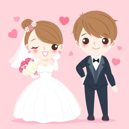 Photo pour Cute cartoon illustration of married couple on pink background - image libre de droit
