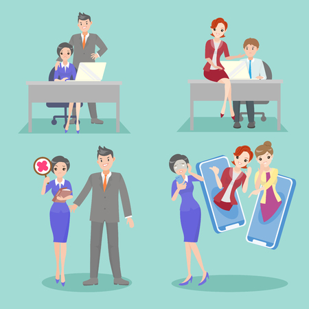 Illustrazione per business people with bullying problem on the blue background - Immagini Royalty Free