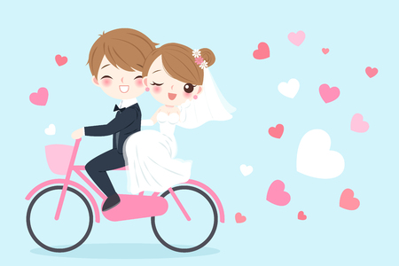 Photo pour A cute cartoon wedding people riding bicycle and smile happily on the blue background - image libre de droit