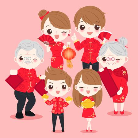 Ilustración de family with chinese new year on the pink background - Imagen libre de derechos