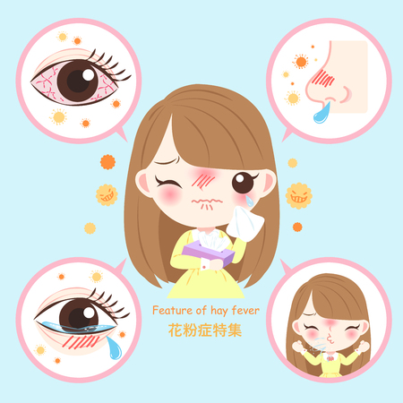 Illustrazione per girl with pollen allergy and feature of hay fever in chinese word - Immagini Royalty Free