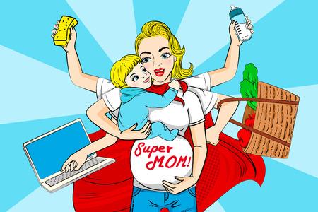 Ilustración de Cartoon super mom on the blue background illustration. - Imagen libre de derechos