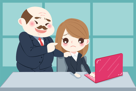 Illustrazione per Cartoon boss harassing woman in the office - Immagini Royalty Free