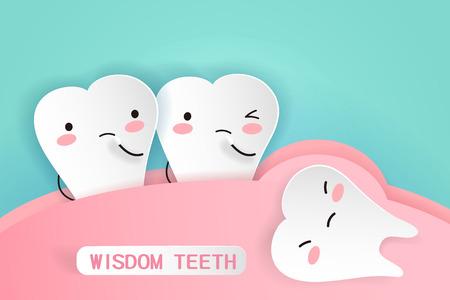Illustrazione per Cute cartoon wisdom teeth with health concept - Immagini Royalty Free