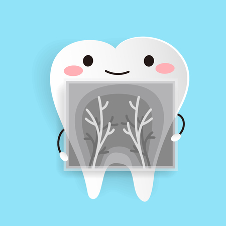Ilustración de cute cartoon health tooth on the blue background - Imagen libre de derechos