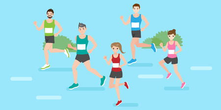 Ilustración de cute cartoon people are running for your sport concept - Imagen libre de derechos