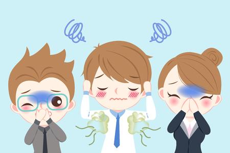 Ilustración de cute cartoon businessman with body odor problem on blue background - Imagen libre de derechos