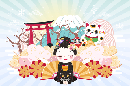Illustration pour cute cartoon geisha with japan travel elements in winter - image libre de droit