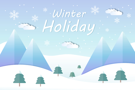 Illustration pour Winter holiday landscape and mountain ski resort in flat design - image libre de droit