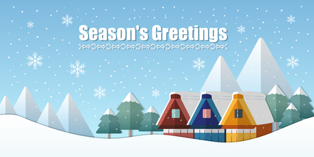 Illustration pour season greetings banner and winter holiday landscape in flat design - image libre de droit