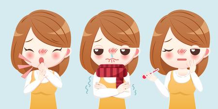 Illustrazione per cartoon girl feel cold and get a fever - Immagini Royalty Free