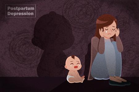 Ilustración de postpartum depression concept - mother feel depressed with baby with the dark background - Imagen libre de derechos