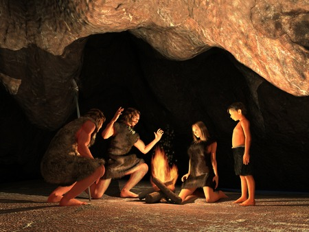 Photo for Cave Dwellers Gathered around a campfire - Royalty Free Image
