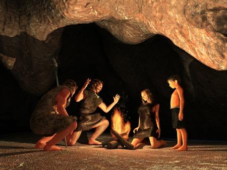 Photo pour Cave Dwellers Gathered around a campfire - image libre de droit