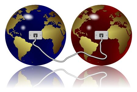 two earth globes connected with an Ethernet cable
