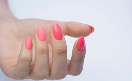 Photo pour Beautiful manicure and nail art. Natural nails and gel polish. - image libre de droit