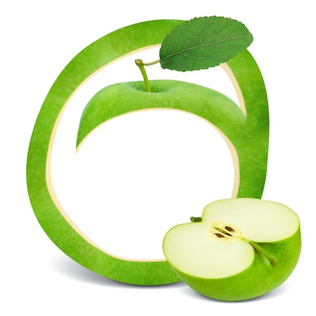 Green apple frame with leaf and slice