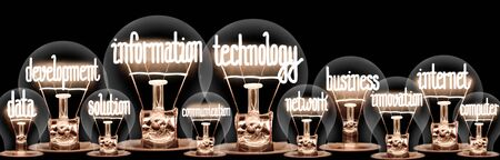 Foto de Large group of light bulbs with shining fibers in a shape of Information Technology, Internet, Data, Business and Development concept related words isolated on black background - Imagen libre de derechos