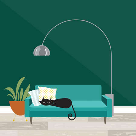 Illustration pour Cozy room scene with sleeping cat in mid-century modern style - image libre de droit
