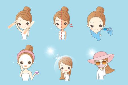 Illustration pour cartoon woman using sunscream, concept for skin care and whiten - image libre de droit