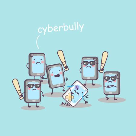 Illustrazione per cute cartoon cellphone bully, great for technology concept design - Immagini Royalty Free
