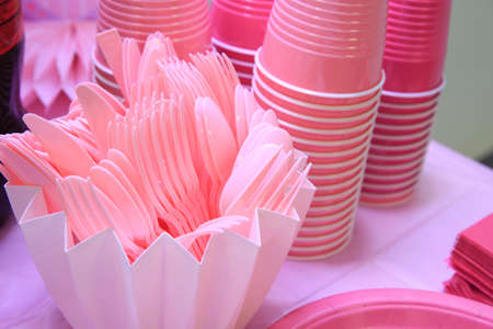 Pink plastic disposable tableware