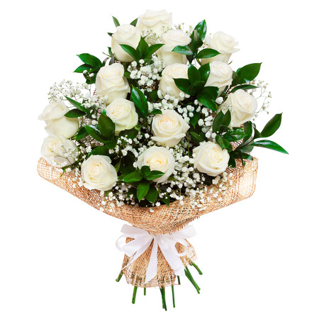 Bouquet of beautiful white roses isolated on white. A great gift to a woman for an anniversary, birthday, valentine