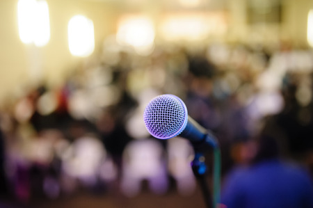 Photo for microphone against the background of convention center - Royalty Free Image