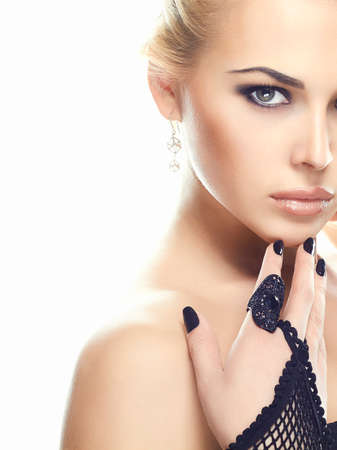 Photo for beautful young woman face.Sexy young Woman in Gloves.beauty model girl with make-up - Royalty Free Image