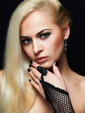 Photo for Beautiful Fashion woman portrait. sexy Blond Girl in Gloves and jewelry accessories - Royalty Free Image