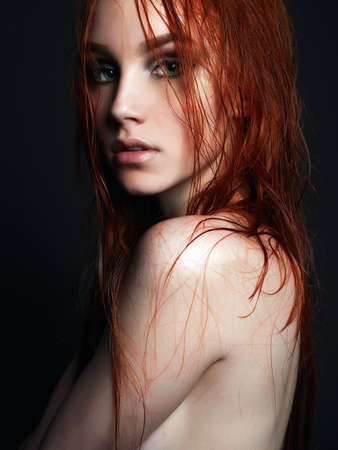 Photo pour sexy Beautiful young woman with wet hair.beauty passion wet red haired girl - image libre de droit