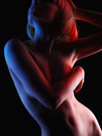 Photo pour Nude Woman with Bob Hair. Naked Blonde Girl in Colorful bright lights posing in studio - image libre de droit
