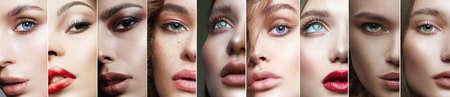 Foto de Different female eyes. collage of beautiful women. beautiful girls with make-up - Imagen libre de derechos