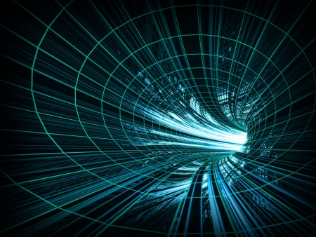 Abstract background  fast motion in turning blue tunnel with the light at the end
