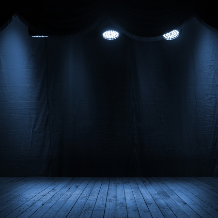 Photo for Dark blue scene interior with spotlights, wooden stage and fabric background - Royalty Free Image