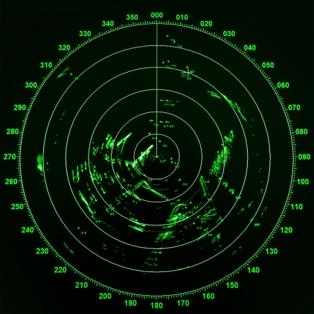 Foto de Modern ship radar screen with green round map on black background - Imagen libre de derechos