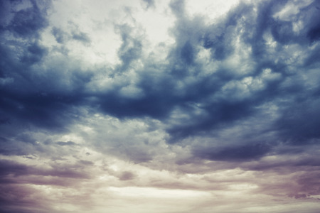 Photo for Dark blue stormy cloudy sky natural photo background - Royalty Free Image