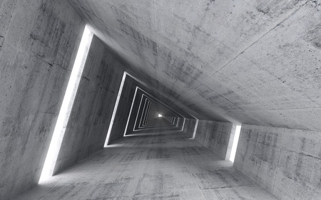 Photo for Abstract empty concrete interior, 3d render of pitched tunnel  - Royalty Free Image
