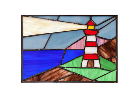 Foto de Handmade stained glass composition with abstract coastal landscape and lighthouse - Imagen libre de derechos