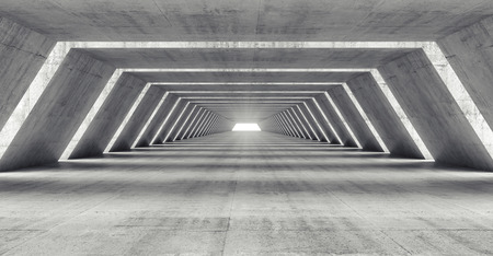Photo pour Abstract illuminated empty corridor interior made of gray concrete, 3d illustration - image libre de droit