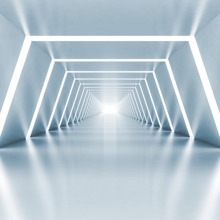 Foto de Abstract empty light blue shining corridor interior with illumination, 3d render illustration - Imagen libre de derechos